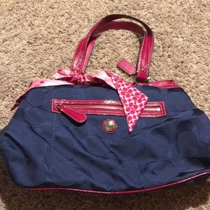 Coach navy and pink accent bag